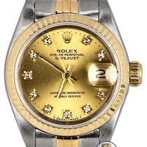 롤렉스 1991 Factory Diamond Ladies Rolex DateJust 69173 26mm 18K...