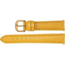"Select Yellow Leather Watch Band Lizard Padded 14mm 7.5"" Long..."