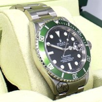 Rolex Submariner 16610v Anniversary Model Green Bezel Black...