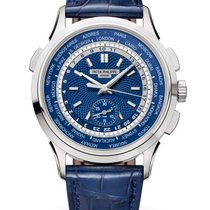 Patek Philippe World Time Chronograph Белое золото 39.5mm Синий Aрабские