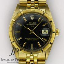 Rolex Oyster Perpetual Date Žluté zlato 34mm Černá Bez čísel