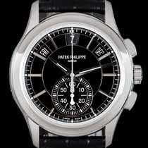 Patek Philippe Platinum Automatic Black No numerals 42mm pre-owned Annual Calendar Chronograph