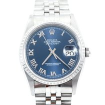 Rolex Mens Datejust - Blue Roman Numeral Dial 16234 No Holes...