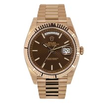 Rolex Day-Date 40 Rose Gold President Chocolate Index Watch...