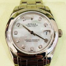 Rolex Lady-Datejust Pearlmaster Oro blanco 34mm Madreperla Sin cifras