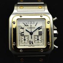 Cartier Santos Galbée używany 29mm Biały Chronograf Data Złoto/Stal