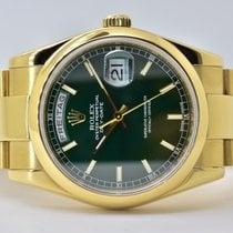 Rolex Day-Date 36 Oro amarillo 36mm Verde Sin cifras