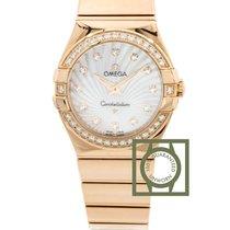 Omega Constellation Quartz 27mm Pink Gold Diamond Bezel &...