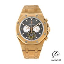 Audemars Piguet Rose gold Automatic Black No numerals 44mm pre-owned Royal Oak Tourbillon