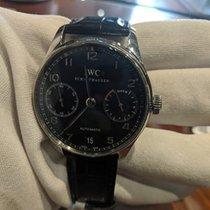 IWC Portuguese Automatic pre-owned Black Date Crocodile skin