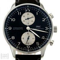 IWC Portugieser Chronograph gebraucht 41mm Schwarz Chronograph Datum Krokodilleder