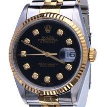 Rolex Oyster Datejust Jubilee Gold Steel Black Diamond Dial 36 mm