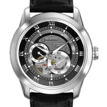 Bulova CLASSIC AUTOMATIC Double Grey Dial Black Leather 42mm...