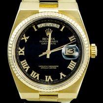 Rolex Day-Date Oysterquartz Or jaune 36mm Noir Sans chiffres