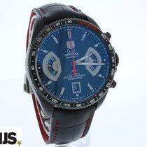 TAG Heuer Grand Carrera tweedehands 43mm Zwart Chronograaf Datum Tachymeter Krokodillenleer