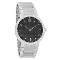 Movado Mens Gravity Black Carbon Dial Swiss Quartz Watch 0606838