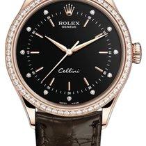 Rolex Cellini Time Pозовое золото 39mm Чёрный