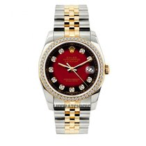 Rolex Datejust Men's 36mm Red And Black Dial Yellow Gold...