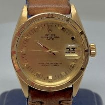 Rolex Oyster Perpetual Date Yellow gold 34mm Silver No numerals