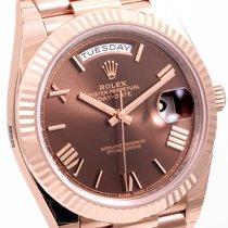 Rolex 40mm 18K Rose Gold Day-Date Chocolate Roman 228235 UNWORN