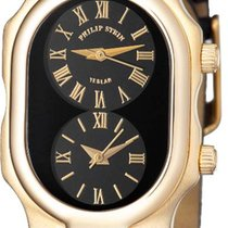 Philip Stein Yellow gold Quartz Black Roman numerals 27mm new