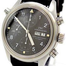 IWC Pilot Double Chronograph pre-owned 42mm Black Chronograph Leather