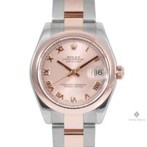 Rolex Datejust Steel and Gold Rose Roman Numeral Dial Smooth...
