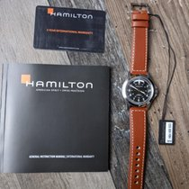 Hamilton Khaki Field King pre-owned Black Date Weekday Leather