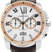 Cartier Calibre de Cartier Chronograph Gold/Steel 42mm Silver Roman numerals