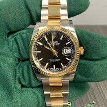 Rolex Datejust Χρυσός / Ατσάλι 36mm Μαύρο Xωρίς ψηφία