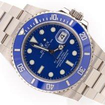 Rolex Oro blanco Automático Azul Sin cifras 40mm usados Submariner Date