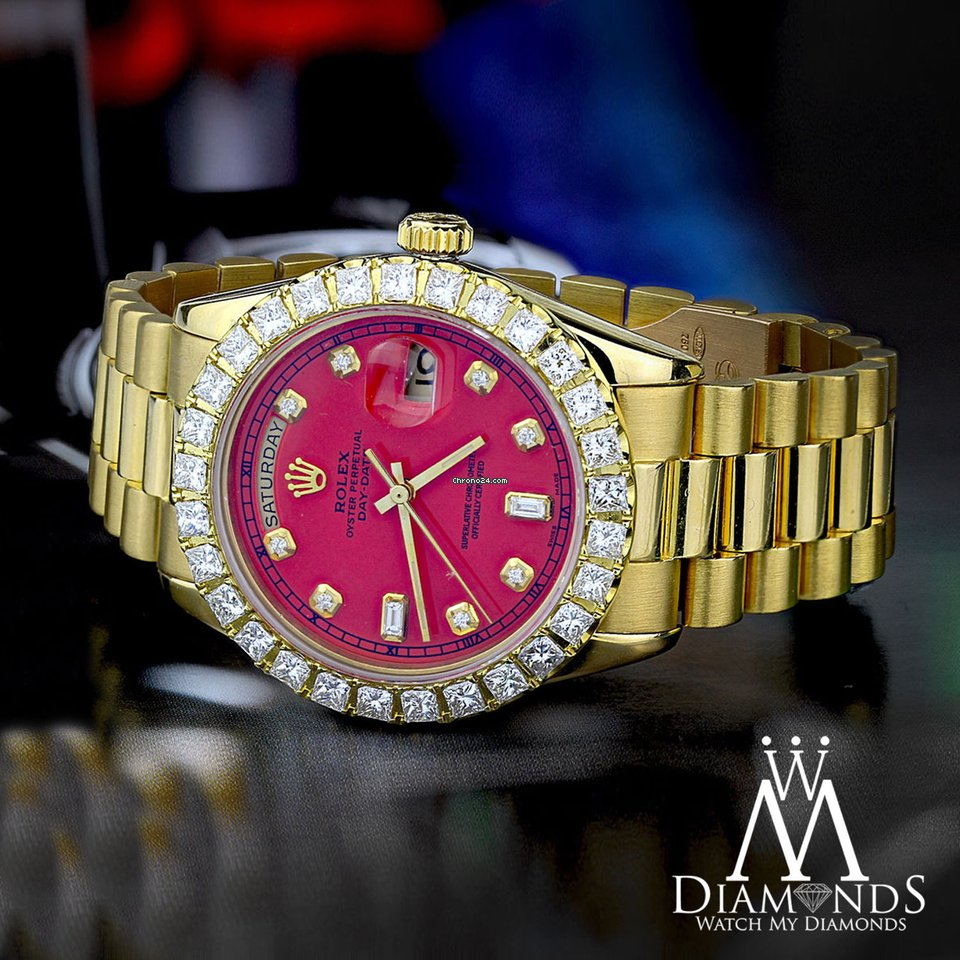 Rolex Red Face Diamond Rolex Presidential 18k Yellow Gold For