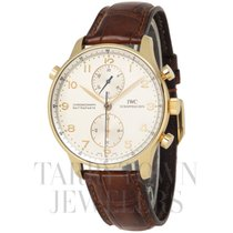 IWC Yellow gold Manual winding Silver Arabic numerals 41mm pre-owned Portuguese Chronograph