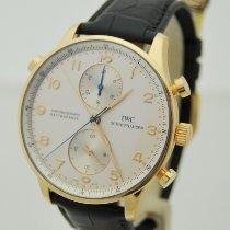 IWC Portugieser Chronograph gebraucht 41mm Silber Chronograph Doppelchronograph Krokodilleder