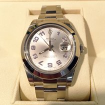 Rolex Oyster Perpetual Datejust Silver Rhodium Arabic Numerals...
