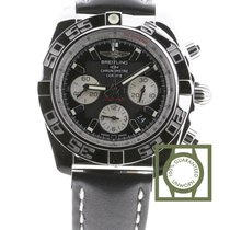 Breitling Chronomat 44 Black Dial Black Leather Strap AB011012...