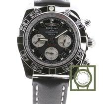 Breitling Chronomat 44 Black Dial Black Leather Strap AB011012...