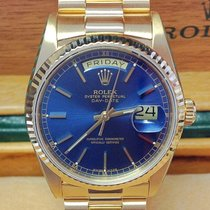 Rolex Day-Date Yellow Gold Blue Baton - Serviced by Rolex
