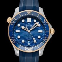 Omega Yellow gold Automatic Blue new Seamaster Diver 300 M