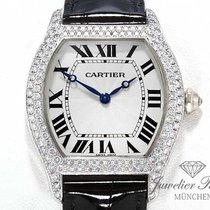 Cartier Tortue Weissgold 750 Diamanten Handaufzug Grosses Modell
