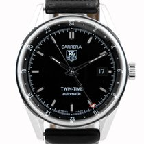 TAG Heuer Carrera Twin Time SS Case Black Dial - WV2115
