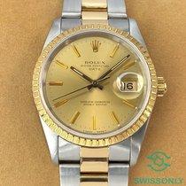 Rolex Oyster Perpetual Date Zlato/Ocel 34mm Šampaňská barva Bez čísel