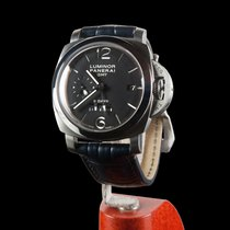 Panerai Luminor 1950 8 Days GMT usados 44mm Negro Fecha GMT Piel