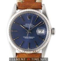 Rolex Datejust Steel 36mm 18k White Gold Fluted Bezel Blue...