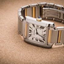 Cartier SS 18Y Gold Tank Francais Medium Size.Model #W51012Q4