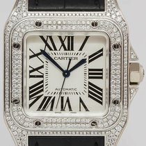 Cartier White gold Automatic 33mm pre-owned Santos 100