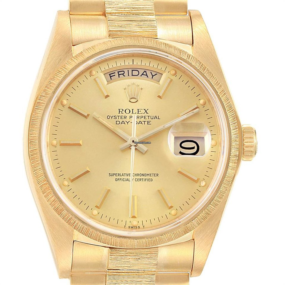 0372567d68f Rolex President Day-date 36 Yellow Gold Bark Finish Mens Watch... for  $11,990 for sale from a Trusted Seller on Chrono24