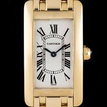 Cartier 18k Yellow Gold Silver Roman Dial Tank Americaine Ladies