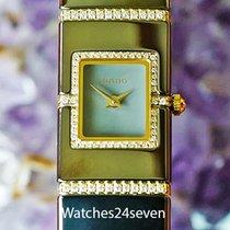 Rado DiaStar 18K Gold, SS & Ceramic Ladies Diamond Bracelet Watch