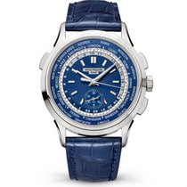 Patek Philippe World Time Chronograph White gold 39.5mm Blue No numerals